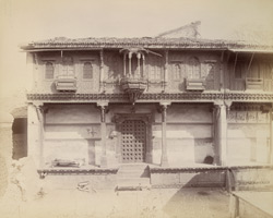 Bharot's House, Patan, showing elaborate wood carving on upper storey 10031732